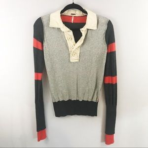 Free People Long Sleeve Striped Rugby Sweater